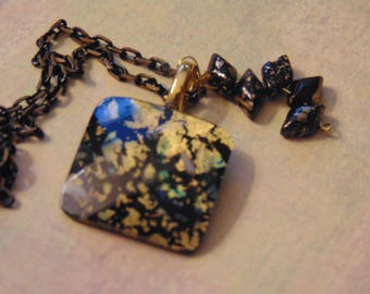 Black Gold Chain Picasso Terracotta Black and Gold Czech Bead Dangle Faceted Square Gold Black Blue Asian Foil Pendant Necklace