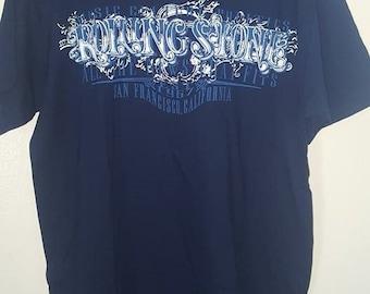 Rolling Stone Magazine Logo T-Shirt Navy Blue