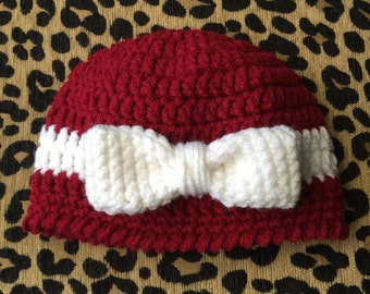 Crochet Red Newborn Hat With Bow.