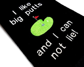 funny golf towel, golf gift for him, I like big putts, I cannot lie, personalized golf, Father's day, birthday, embroidered golf, monogram