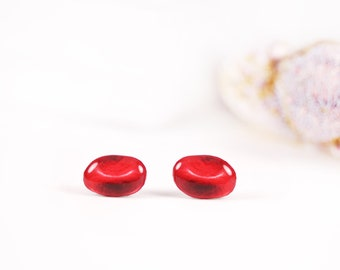 Red blood cell stud earrings Nurse gift idea Doctor gift idea Human anatomy earrings Phlebotomy jewelry Medical jewelry Hematology jewelry