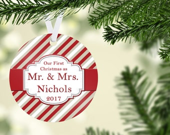 Mr & Mrs First Christmas Ornament - Red, White and Tan