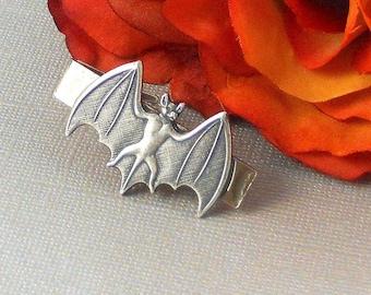 Gothic Bat  Men's Tie Bar Clip Silver Tie Bar Bat Tie Clip For Him Weddings Sterling Silver
