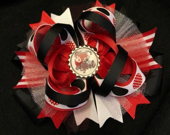 OU Oklahoma Sooners-Inspired Football Over the Top Boutique Hair Bow for Infant, Baby and Girl