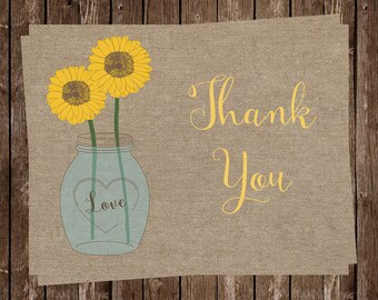 Sunflower, Thank You Cards, Mason Jar, Burlap, Rustic, Yellow, Flowers, Floral, Country, Shabby Chic, 20 Printed Cards, FREE Shipping