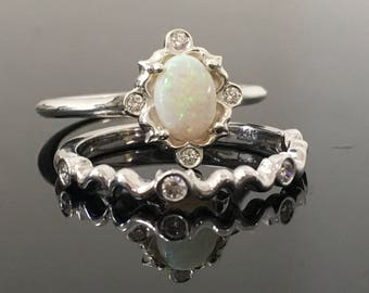 Sterling Silver Opal Engagement Ring Matching Set - Silver Vintage Inspired Opal and Diamond Bridal Set - Silver Australian Opal Ring Set