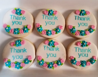 Thank You Sugar Cookies Pink & Turquoise