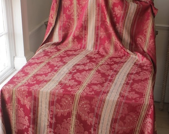 Antique French Fabric Ticking Striped and Red Floral Material 1930 Sewing Upholstery Pillows Projects Quilting Tablecloth Cotton Linen Rayon