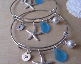 Sea Glass Jewelry Bridal Party Gift adjustable Bracelet Blue Starfish Bangle Beach Glass Beach Wedding Gift Blue Bridesmaid Jewelry