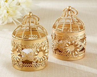 Gold Floral Lanterns - Set of 12 - Birdcage Centerpiece Lantern for Garden Wedding Reception Table Decorations - MW36005