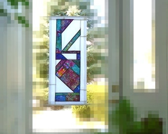 Stained Glass Window~Fiber Art Batik Pojagi Patchwork Window Treatment~ sidelight / bathroom / contemporary window treatment