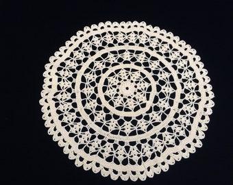 Crochet Lace Doily. Yellow Vintage Cotton Lace Doily. Large Round Crocheted Doily. Round Yellow Crochet Lace Doily. Crochet Doily RBT3606