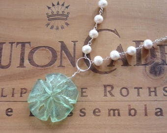 Green Sea Glass Sand Dollar with Freshwater Pearls Necklace, Mermaid Necklace , Beach Necklace