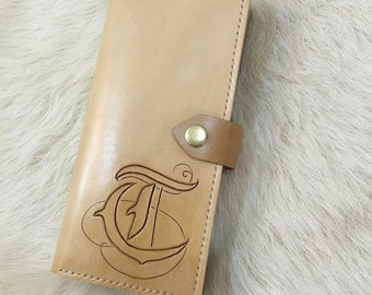 Long leather wallet, leather handmade wallet, leather carving
