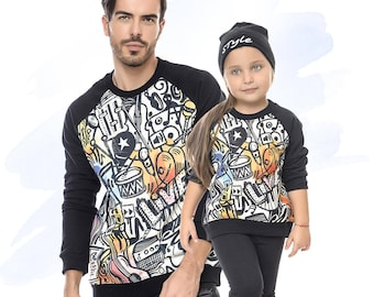Matching Outfits, Dad And Daughter Matching Shirts, Sport Sweatshirts, Father and Daughter Matching Tops, Matching Sweatshirts, Set Of 2