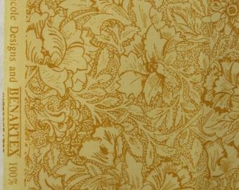 Benartex yellow floral quilt fabric 3/4 yards