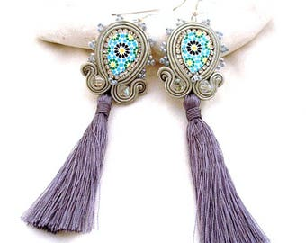 Gray fall long dangle tassel earrings , soutache boho gyspsy moroccan tile replica jewelry , gift under 25 for mom , grey blue mosaic jewel