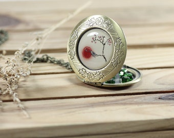 Bird Necklace - Crane Locket - Art Jewelry - Locket Pendant - Lockets for Women - Vintage Lockets (11-2L)