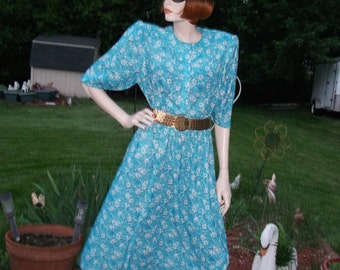 Floral dress, turquoise dress, elastic waist dress, midi dress, short sleeve dress,pearl button, semi transparent dress, 80's dress, size16,