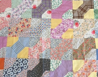 """Colorful Hand pieced 1920-30's Bow Tie Quilt Top 84"""" x 88"""""""