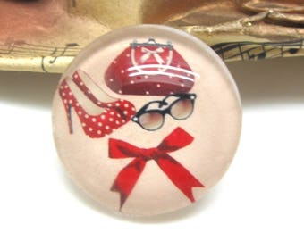 1 cabochon 25 mm glass Chic fashion red - 25 mm