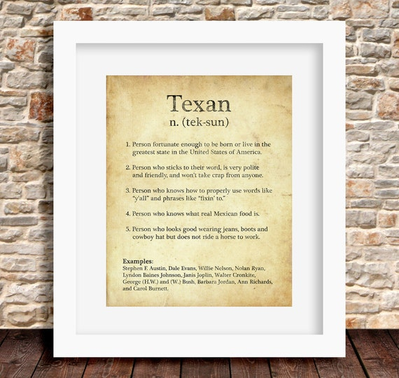 Texan definition on dictionary page brown rustic home wall art stopboris Image collections