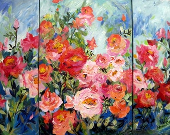 Large Garden tryptich Original Painting 36 x 48 Fine Art by Elaine Cory