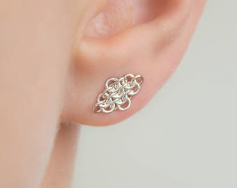 Sterling Silver Post Earrings, Argentium Silver, Small European Rhombus Fused Chainmaille Circle Ear Studs, Nickel Free and Hypoallergenic