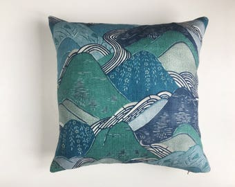 Mountain linen cushion cover in Japanese style print, Kelly Wearstler Groundworks Lee Jofa, abstract oriental japan, teal green blue pillow
