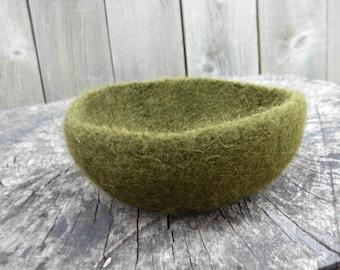 Olive Green Felted Bowl