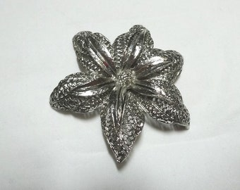 1960s BSK Brooch in Silver Tone Star Flower Shape, Signed, Lock Back Pin, Vintage Costume Jewelry, Filigree Fashion Accessory