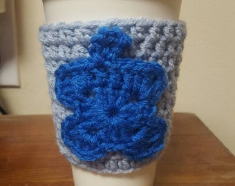 Autism Awareness coffee cozy - coffee cozy - mug cozy - autism awareness - autism - light it up blue - puzzle piece - puzzle piece cozy