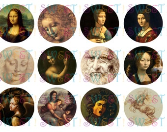 Edible Da Vinci Painting Cupcake, Cookie, Oreo or Drink Toppers - Wafer Paper or Frosting Sheet