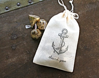 Wedding favor bags, set of 50 drawstring cotton bags, vintage style anchor, Thank You, nautical party favor bags, bridal shower favor bags