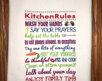 Embroidered flour sack kitchen dish towel - kitchen rules, mother's day gift, birthday, home decor, kitchen decoration, tea towel