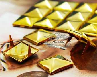 50/100/200 PCS X 9mm / 12mm Gold Square Pyramid Rivets Studs Spike Spot Metal Matte Finish Phone Case Deco Jean button Leather Craft SD.GO