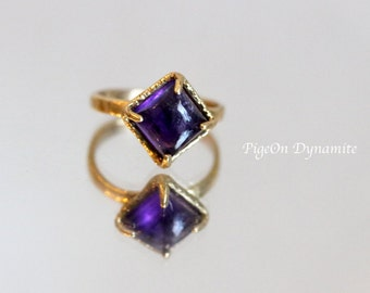 Square Amethyst Solitaire Ring-Stackable Garnet/Amethyst Ring with Hammered Texture/Stacking Stone Ring-Ready to Ship in size 6.5