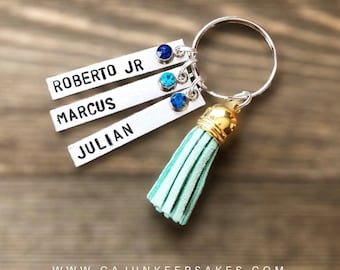 TASSLE KEYCHAIN | Choose color | Custom | Personalized Handstamped Jewelry