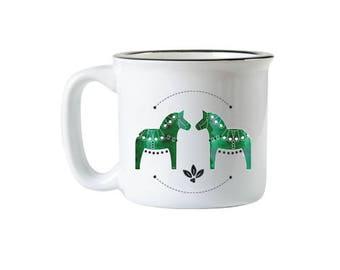 Green Dala Horse Campfire Mug