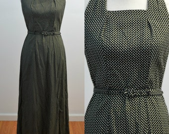 Vintage vtg 1990s 90s ED Michaels Halter Top Rayon Maxi Dress Sleeveless Sundress Ankle Length Belted Polka Dots Small S Medium M
