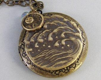 Seashore,Locket,Brass Locket,Filigree Locket,Ocean,Tide,Sun,Water,Aquamarine,Antiqued Locket. Handmade jewelry by valleygirldesigns.
