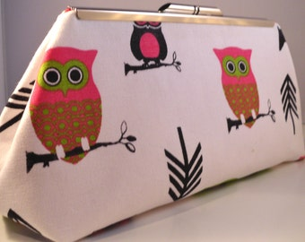 Pink and Lime Owl Clutch