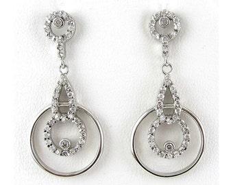Sterling Silver & CZ Double Hoop Pendant Drop Earrings - Deco Style, Pierced
