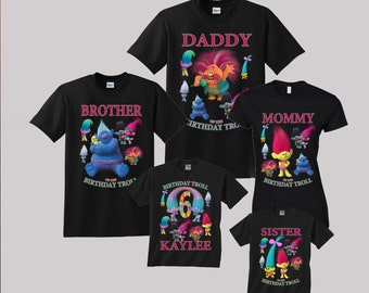 Trolls Birthday Shirt Custom personalized shirts for all family, Black