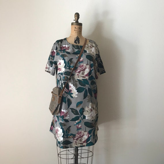Botanical Tunic | one size 90s vintage class short sleeve PLUS SIZE long day dress mini blouse xl xxl medium small floral print UNISEX