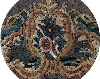 """Colorful Flower ACCENT 12"""" Medallion Marble Mosaic IN632"""