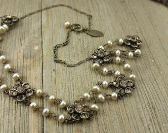 Vintage Lizpaiacios S.F. Rhinestone/ Faux Pearl Necklace