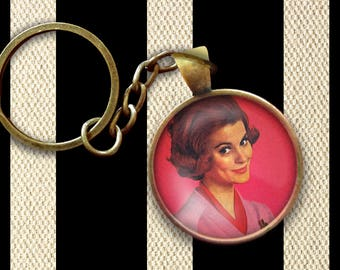 Retro 1950s Woman's Fashion Style Pin, Magnet, Keychain, or Necklace