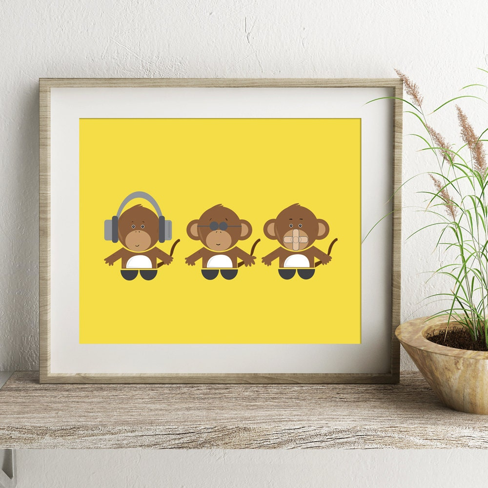 Three Wise Monkeys Monkey Art Print Child\'s Bedroom