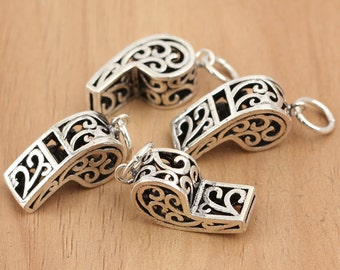 925 sterling silver whistle charm mini whistle pendant, whistle earring jewelry making
